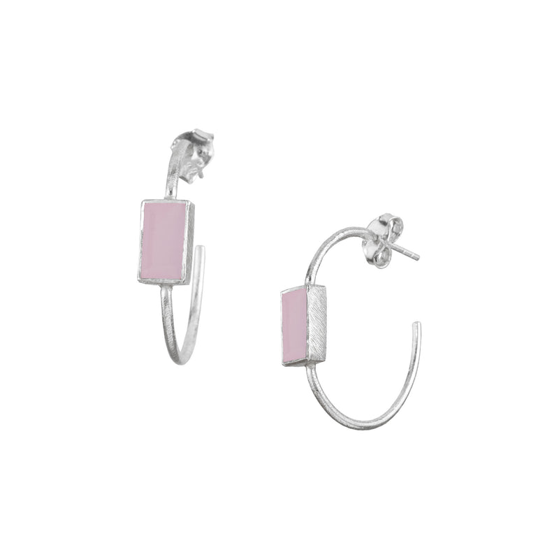 Hoops with rectangular stone Silver