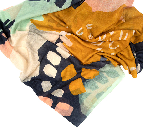 Cashmere Scarf - Printed Stoles - Modern Paint Stroke