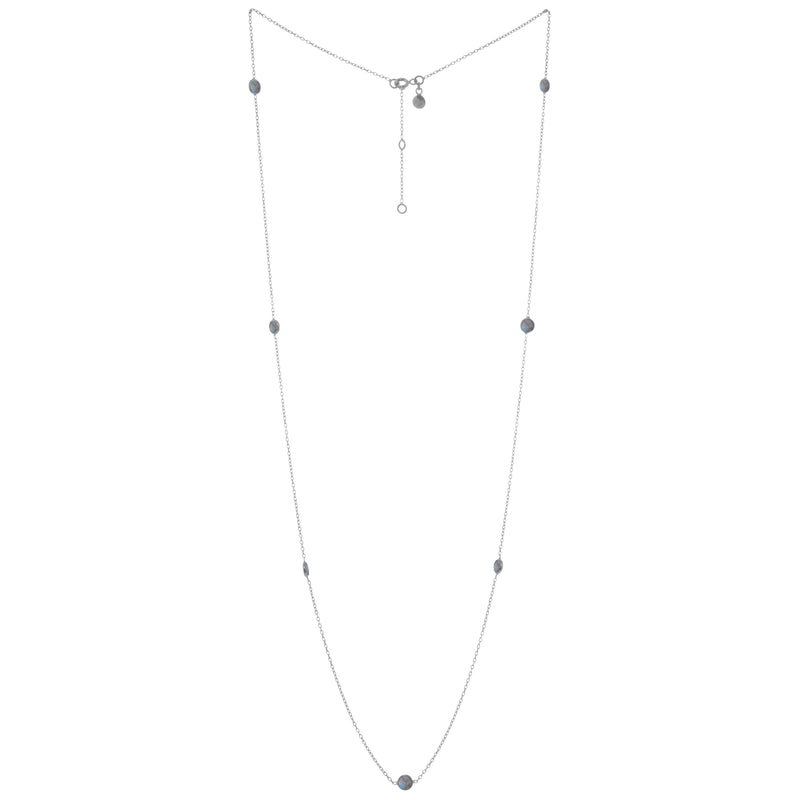 Round Stone dotted Chain Silver