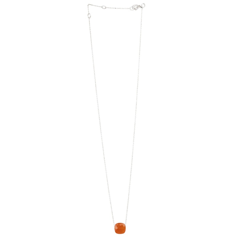 Fine Necklace Chain with Square Faceted Stone Silver