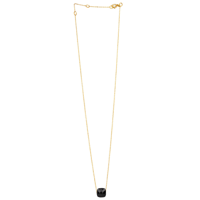 Fine Necklace Chain with Square Faceted Stone Gold