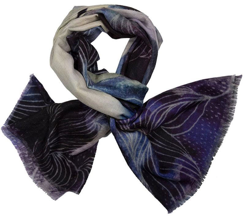 Cashmere Scarf - Printed Stoles - Purple Moon