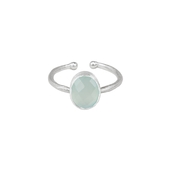 Ring with Oval Stone - Multi Set Silver