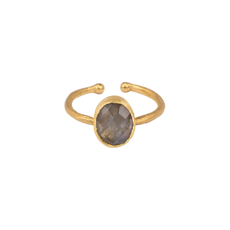 Ring with Oval Stone - Multi Set Rings- Gold