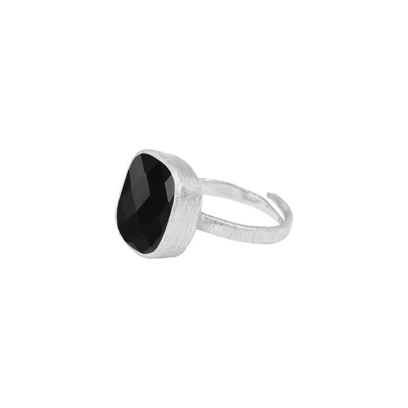Rounded Square Stone Ring Silver