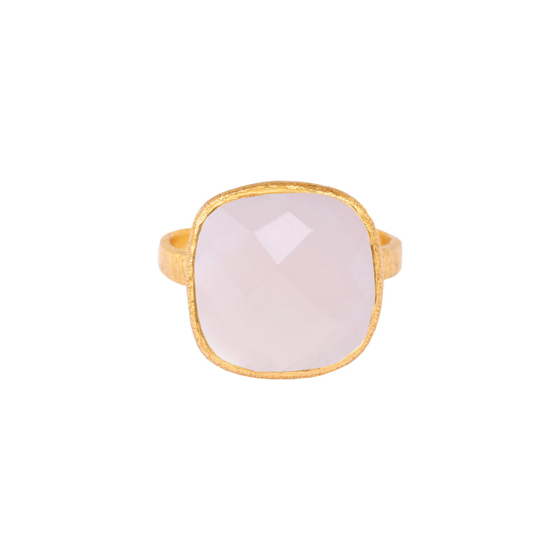 Rounded Square Stone Ring Gold