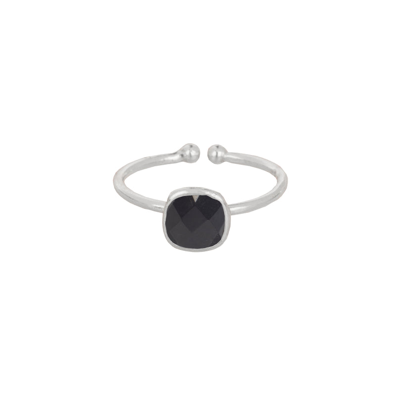 Small Rounded square bezel ring Silver