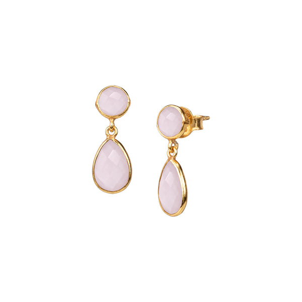 Round stud with Teardrop stone drop Gold