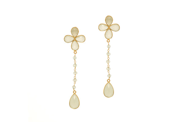 Four Leaf Dot Chain Dangler Gold