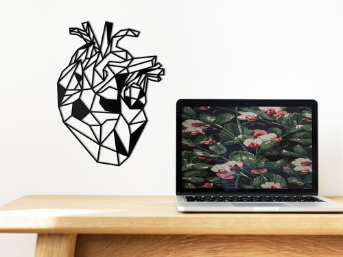 geometric anatomical heart wall art