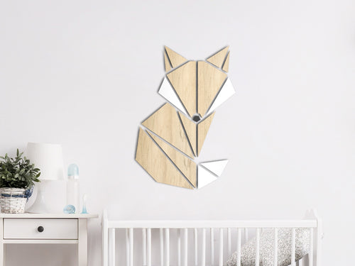 HOUTEN WANDDECORATIE / WOODEN WALL DECORATION - GEOMETRISCHE MUURDECORATIE VOOR DE KINDERKAMER / GEOMETRIC WALL ART FOR KID'S ROOM - VOS / FOX - LICHT HOUT / NATURAL WOOD - KINDERKAMER - SLAAPKAMER - MUURDECORATIE - CADEAU - DECORATIE BABY - INTERIEUR- MUUR- WAND - HOUT - UNIEK - NATUUR - Babykamer - DIER - ANIMAL