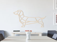 HOUTEN WANDDECORATIE / WOODEN WALL DECORATION - GEOMETRISCHE MUURDECORATIE / GEOMETRIC WALL ART - WORSTHOND / TECKEL / DACHSHUND / WIENERDOG - Natural wood- GEOMETRISCHE MUUR DECORATIE / GEOMETRIC DOG - HOND WOONKAMER MUURDECORATIE WALL ART GESCHENK DECORATIE INTERIEUR DIEREN MUUR WAND HOUT GIFT- UNIEK KADO CADEAU
