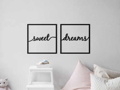 HOUTEN WANDDECORATIE / WOODEN WALL DECORATION - MUURDECORATIE VOOR DE KINDERKAMER / WALL ART FOR KID'S ROOM - WANDTEKST KADER / WALL TEXT FRAME: Sweet dreams - 40cm x 40cm - ZWART / BLACK - WANDFIGUUR - SLAAPKAMER - BABYKAMER - QUOTE / MUURTEKST
