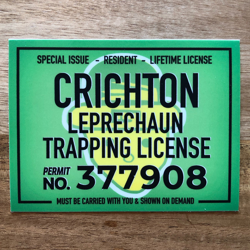 Crichton Leprechaun Trapping License Sticker