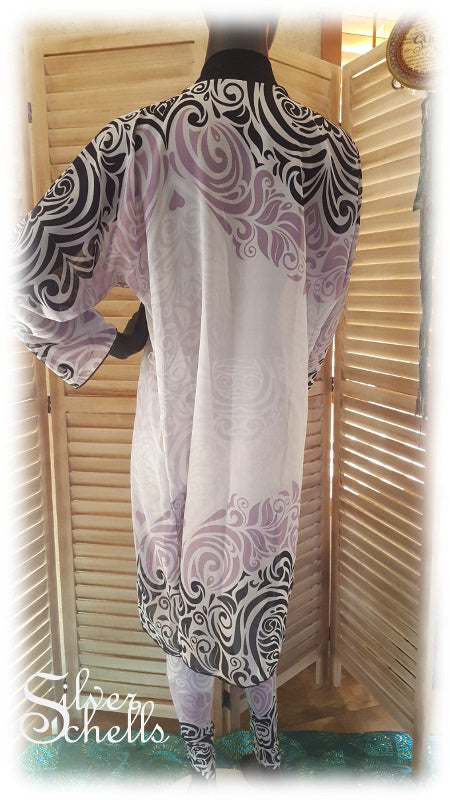 NEW Peignoir Peek-A-Boo Chiffon Robe