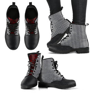 Houndstooth Leather Boots