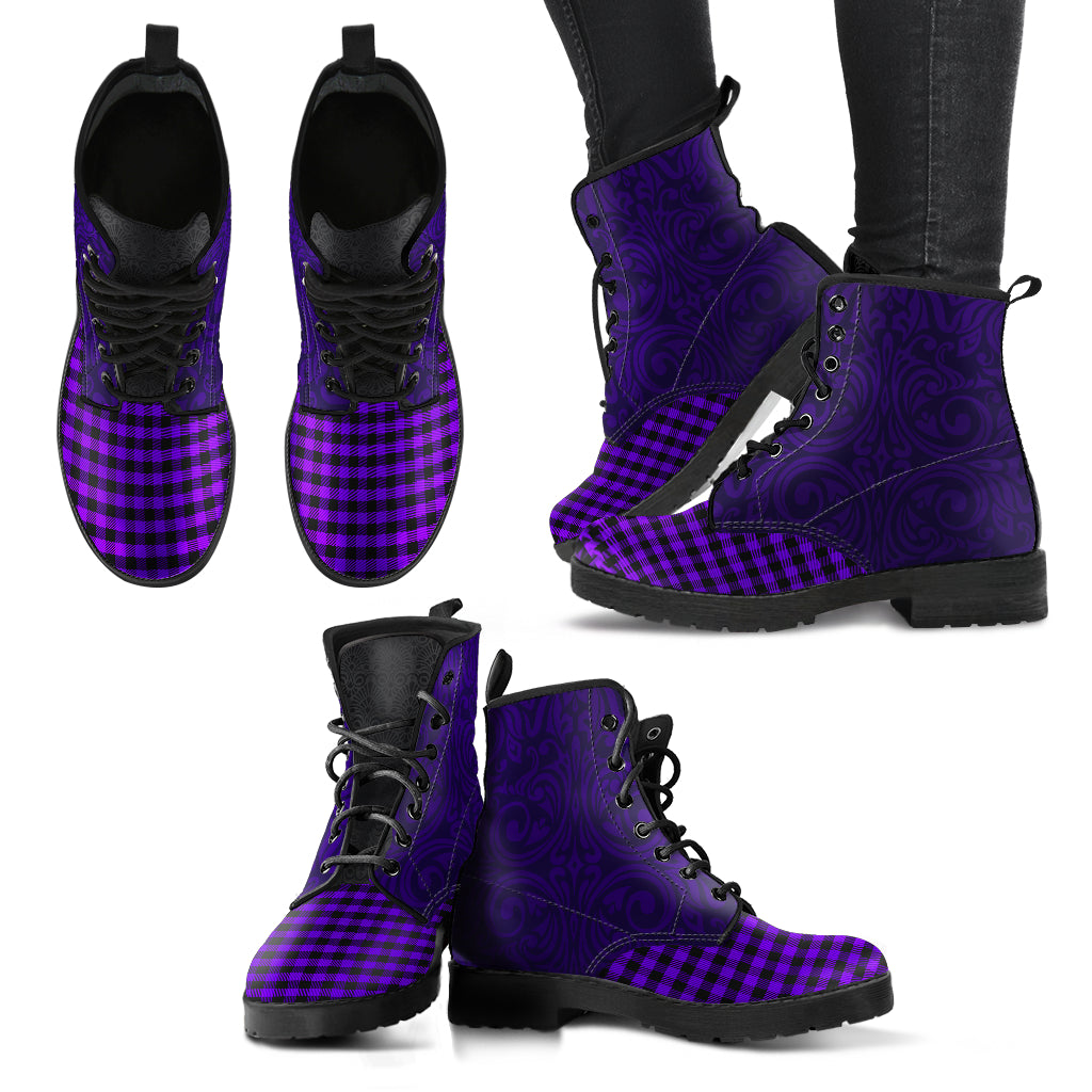 Purple Flannel Leather Boots