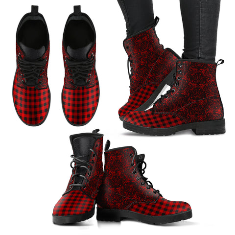 Red Flannel Retro Leather Boots