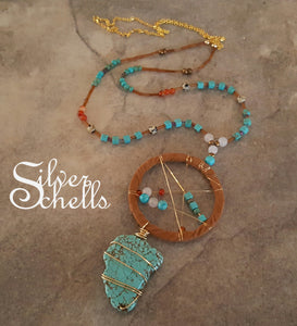Turquoise Gemstone Dream Catcher Long Necklace