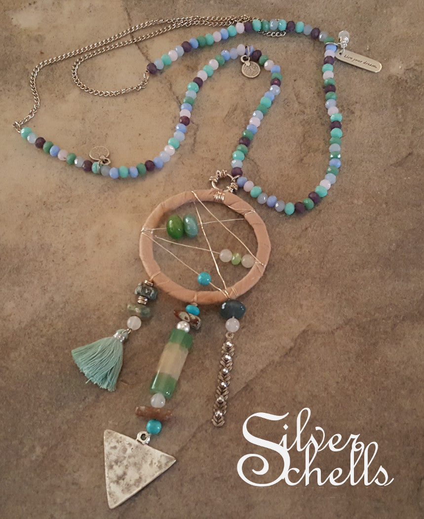 Dream Catcher Arrow Long Necklace