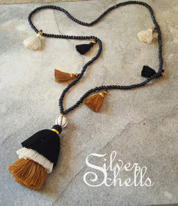 Romantic Long Tassel Necklace Off White Tan Black Brown