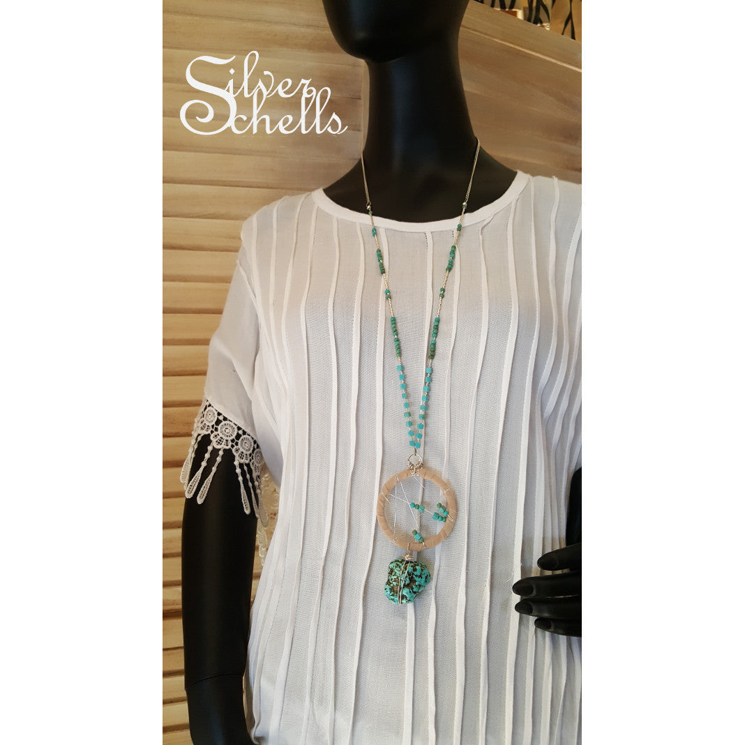 Turquoise Dream Catcher Long Necklace