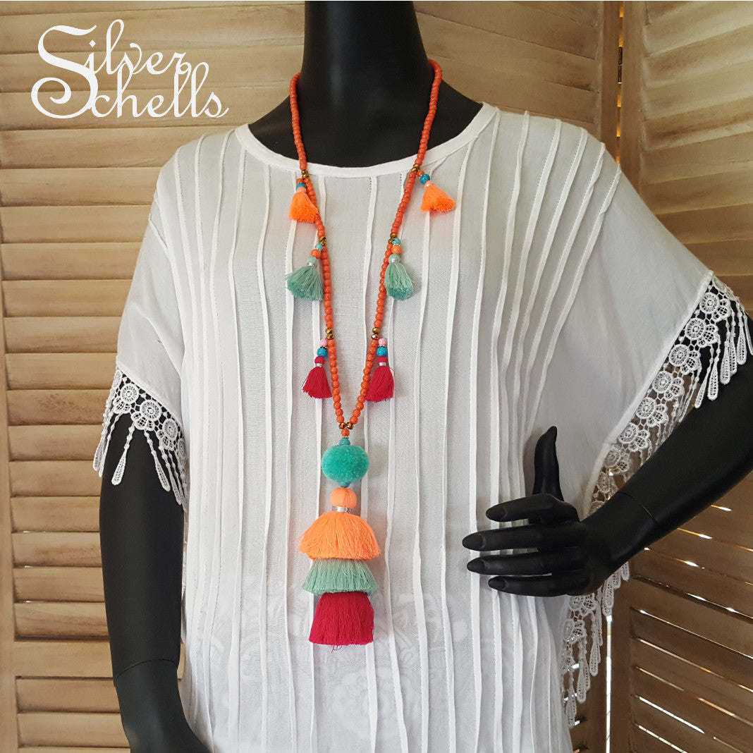 Tassel Tropical Long Beaded Necklace