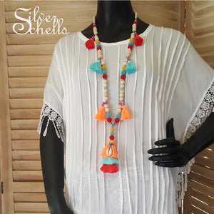 Tassel Tropical Long Wood Bead Necklace
