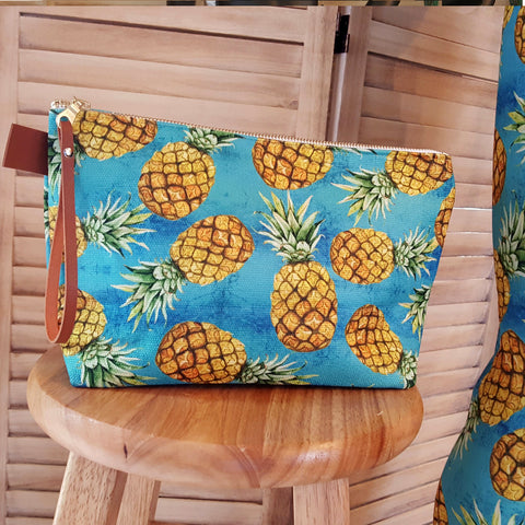 Pineapple Teal Makeup Bag