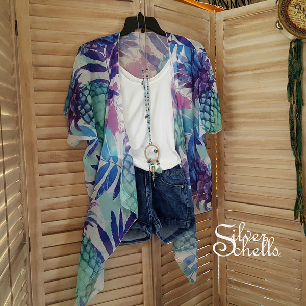 Pineapple Tropical Draped Kimono