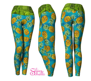 Pineapple Teal Yoga Leggings