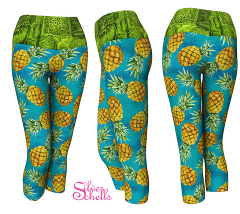 Pineapple Teal Yoga Capris