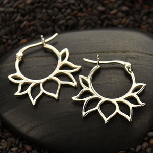 Sterling Silver Hoop Earrings with Lotus Petal Design