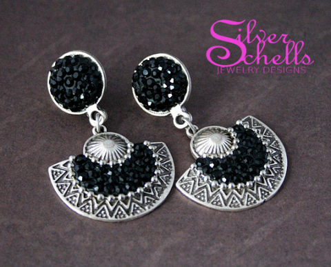 Gift of the Nile Jet Black Swarvoski Earrings