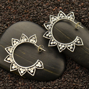 Sterling Silver Hoop Earrings with Lotus Petal