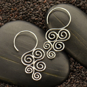 Sterling Silver Cascading Swirl Hook Earrings
