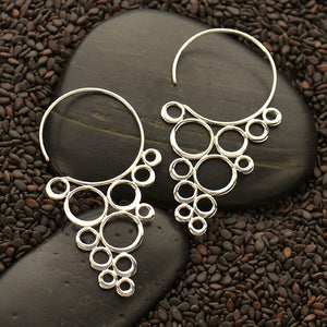 Sterling Silver Cascading Circles Hook Earrings