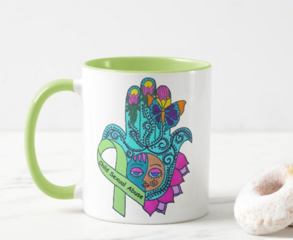 End Child Sexual Abuse 11oz Ringer Mug Artwork Aimed at Raising Awareness
