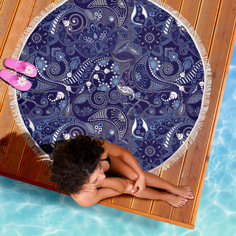 Blue White Paisley Beach Blanket