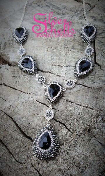 Princess Sterling Silver Onyx Black Necklace Adorned with Swarovski Crystals