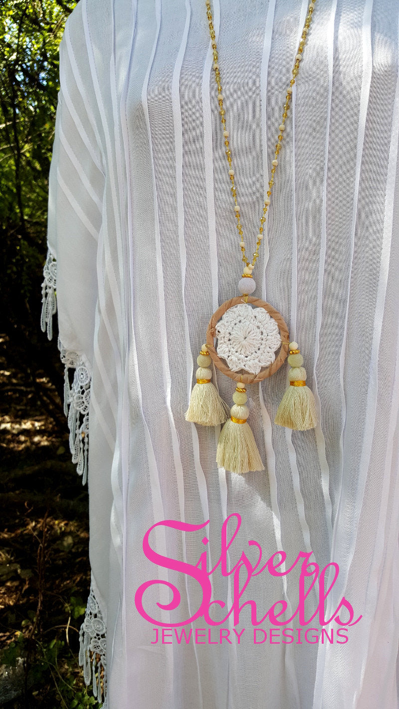 Hippie Chic Crochet Dream Catcher Tassels Tan Long Necklace Jewelry