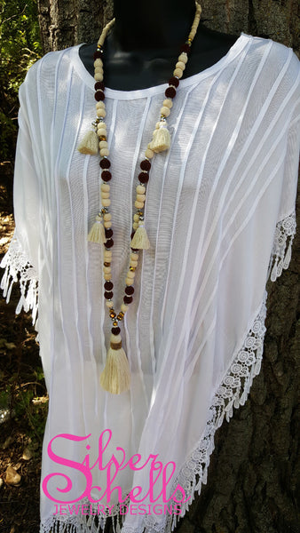 Romantic Playful Tassel Hippie Boho Chic Long Wood Bead Necklace Off White Tan Plum Brown