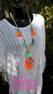 Romantic Playful Tassel Hippie Boho Chic Long Pom Pom Necklace Turqouise Orange