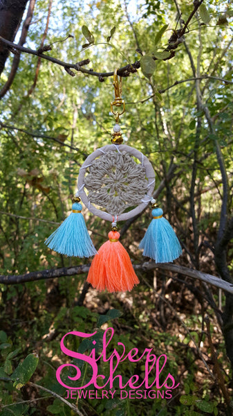 Colorful Crochet Hippie Boho Chic Tan Dream Catcher Tassels Key chains Turquoise Orange