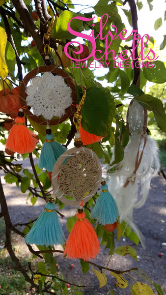 Colorful Crochet Hippie Boho Chic Brown White Dream Catcher Tassels Key chains Turquoise Orange