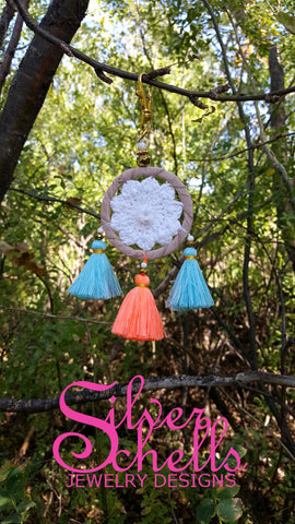 Colorful Crochet Hippie Boho Chic Tan White Dream Catcher Tassels Key chains Turquoise Orange