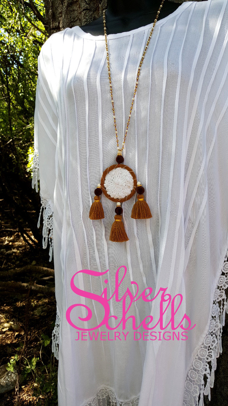 Hippie Chic Crochet Dream Catcher Tassels Long Necklace Jewelry