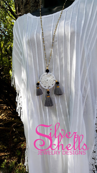 Hippie Chic Crochet Dream Catcher Tassels Grey Long Necklace Jewelry