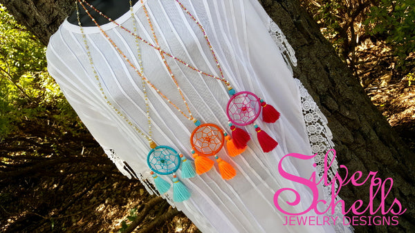 Hippie Chic Dream Catcher Tassels Orange Long Beaded Necklace Jewelry