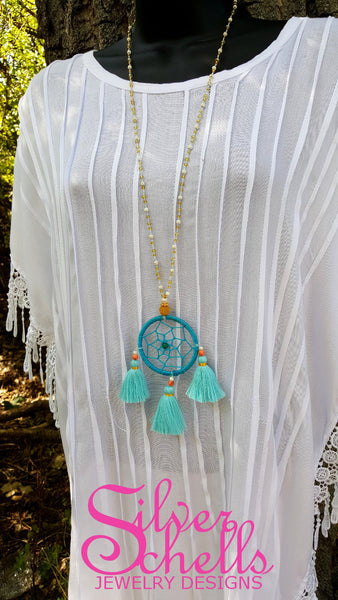 Hippie Chic Dream Catcher Tassels Turquoise Long Beaded Necklace Jewelry